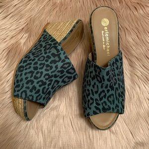 Eric Michael Green Leopard Leather Espadrille